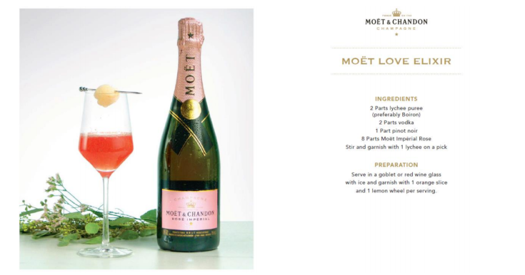 Moët Love Elixir Cocktail with Moët & Chandon Rosé Impérial